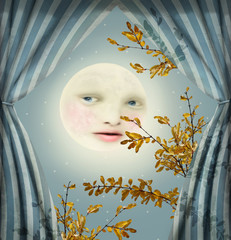 Garden Poster Surrealism Fantasy image representing a full moon with a female face between two curtains