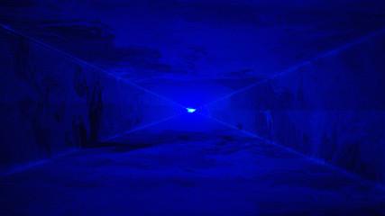 Hazy blue laser light tunnel background, night club / music festival