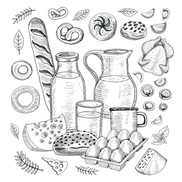 Food objects drawing elements. Sketch style Hand drawing vector illustration