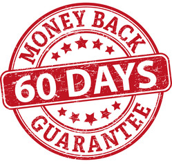 60 days money back guarantee round textured rubber stamp
