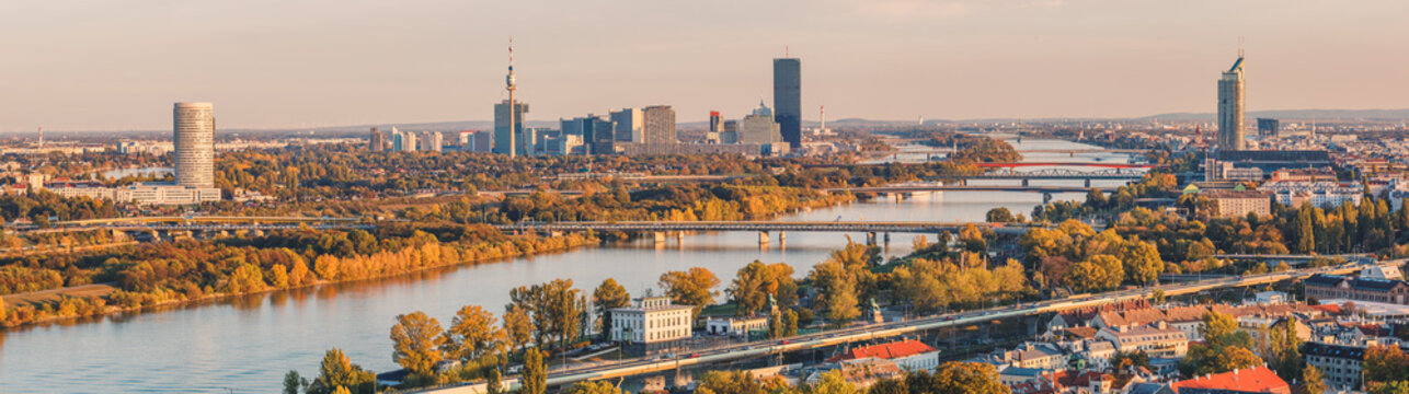 Panoramic view over the Danube in Vienna towards the Vienna International Centre