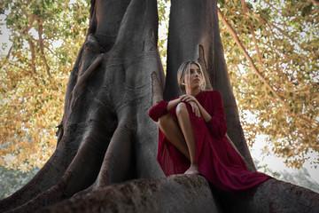 Tender woman in dress on huge tree