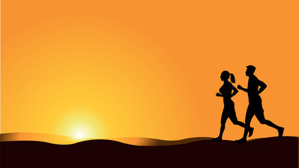 couple running and jogging  silhouette