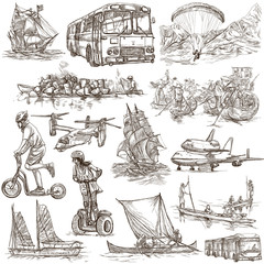 Transport, Transportation around the World - An hand drawn collection. Freehand sketching.