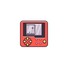 Portable game device - vector sign, symbol, pictogram in thin colorful outline design. Mini pocket retro gaming console - flat color line icon on isolated background.