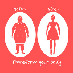 Fat woman and shapely woman. Transform your body.