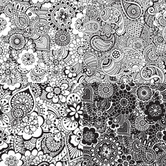 Set of seamless patterns with abstraction. Abstract ornaments in the style of Indian Mehndi.