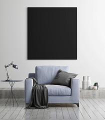 Mock up black poster with armchair, concept living room, 3d render, 3d illustration