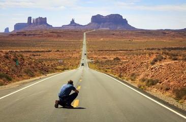 Busy highway into Monument Valley, Utah, USA.