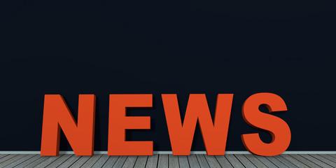 Text News an schwarzer Wand auf Holzboden. 3d render