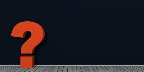 rotes Fragezeichen an schwarzer Wand auf Holzboden. 3d render