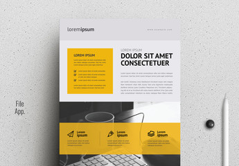 Grayscale Flyer Layout with Yellow Accents