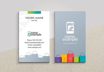 Business Card Layout with Shopping Bag Illustration
