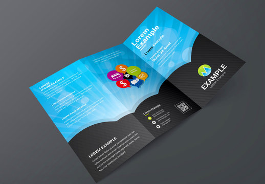 Trifold Brochure Layout with Communication Icons