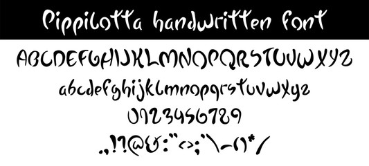 Pippilotta. Hand written hand written black font, curved style. ABC. Decorative funny Vector alphabet, numbers and symbols.
