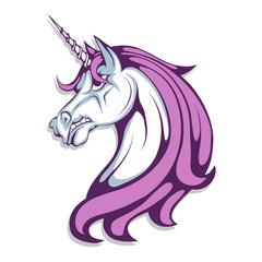 Unicorn. Cartoon unicorn head. Magic animal. Vector graphics to design.