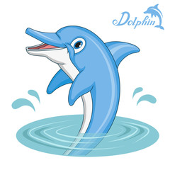 Dolphin. Cartoon dolphin. Sea animal. Vector graphics to design.