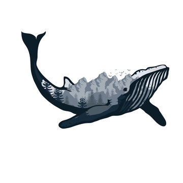 whale double exposure. Wildlife for your design, outdoors symbol whale double exposure. Vector graphics to design.