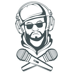 Rap music logo. Rapper skull on white background. Lettering with a microphone. Vector graphics to design.