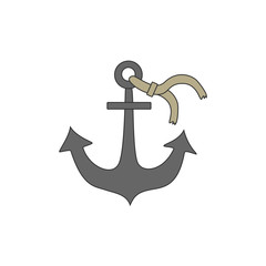 Nautical Anchor vector isolated on white background.