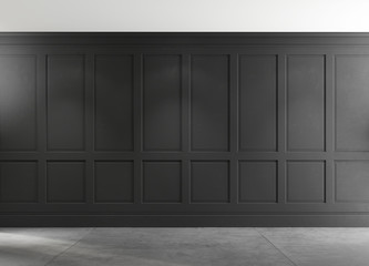 Classic empty room with concrete floor and black wall. 3d illustration
