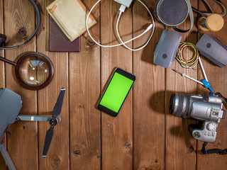 phone chroma key on the table with travel concept