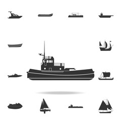 towboat icon. Detailed set of water transport icons. Premium graphic design. One of the collection icons for websites, web design, mobile app