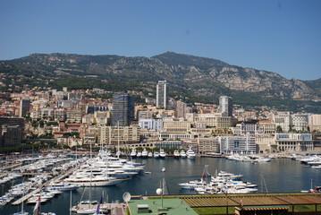 Port de Fontvieille; Monte-Carlo; Prince's Palace of Monaco; aerial photography; town; city; cityscape