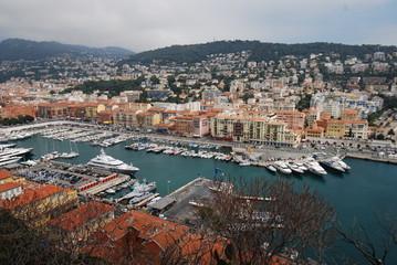 Port of Nice; marina; city; harbor; sky