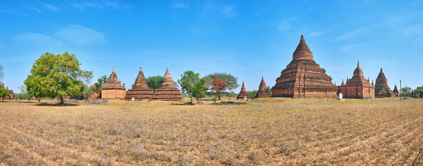 Ancient landmarks among savanna fields, Bagan, Myanmar