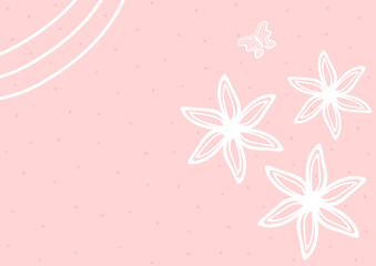 Cute horizontal background with flowers and butterfly drawn by hand. Girlish rectangular template.