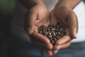 Woman holding coffee beans in hand