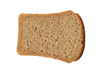 piece of rye bread isolated on white background