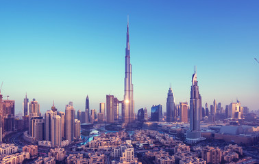 Spoed Fotobehang Dubai Dubai skyline, United Arab Emirates