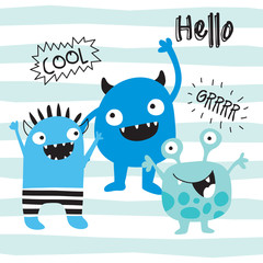 cool monsters vector illustration
