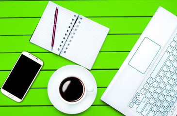 coffee laptop phone desktop top view