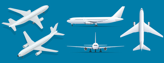 Airplanes on blue background. Industrial blueprint of airplane. Airliner in top, side, front view and isometric. Flat style vector illustration. Fotobehang