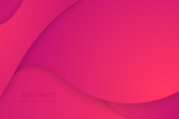 Vector abstract pink background in the paper cut style for design of a cover of  business brochures, flyers, leaflets. Modern realistic template with carving of paper magenta waves for posters.