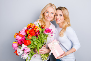 Charming pretty cute hispanic similar mom and adult child with beaming smiles having gift case in pink package with white bow and big colorful bouquet of tulips isolated on grey background