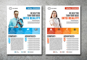 Business Flyer Layout with Bright Accents