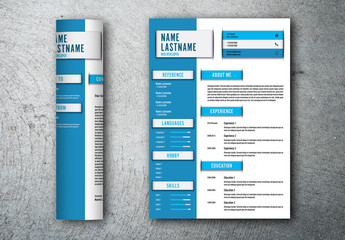 Resume and Cover Letter Set with Blue Accents