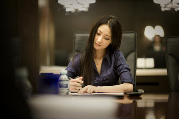Young adult business woman taking notes in a boardroom.
