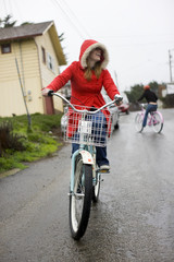 Woman riding her bike on the street