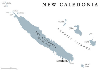 New Caledonia political map, capital Noumea. Collectivity of France in Pacific Ocean. Archipelago. Main Island Grand Terre and Loyalty Islands. English labeling. Gray illustration over white. Vector.