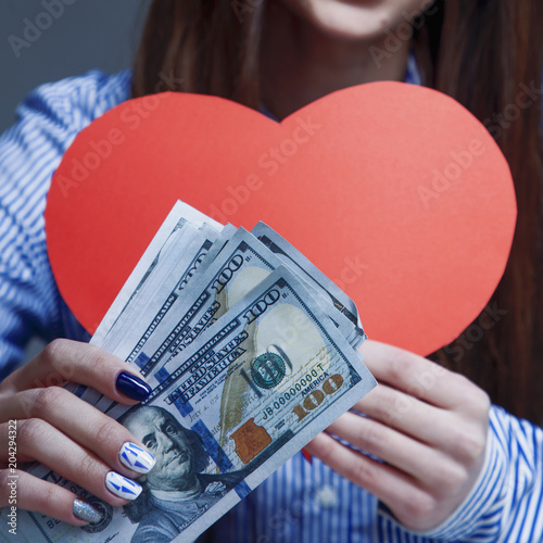I Love Money Beautiful Business Woman Holding Heart And Cash As