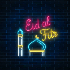 Eid al fitr greeting card with with mosque dome and minaret. Glowing neon ramadan holy month sign
