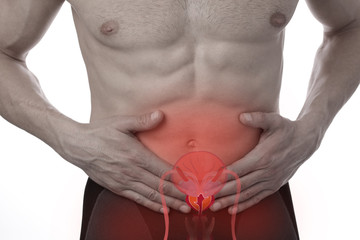 Man with stomach pain., Urinary Tract Infection problems.