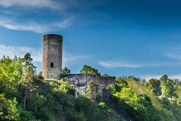 Old ruin Dobronice castle in the South Bohemian region. Czech republic.
