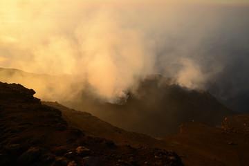 Summit of Volcano Stromboli during sunset, Aeolian Islands, Sicily, Italy