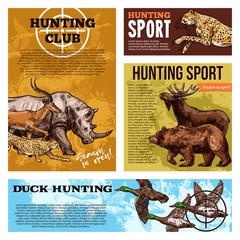 Vector hunting club open season sketch posters